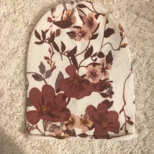 H&M Fall Floral Knit Beanie NWOT